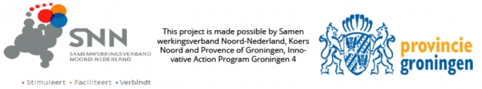 This project is made possible by Samenwerkingsverband Noord-Nederland, Koers Noord and Provence of Groningen, Innovative Action Program Groningen 4